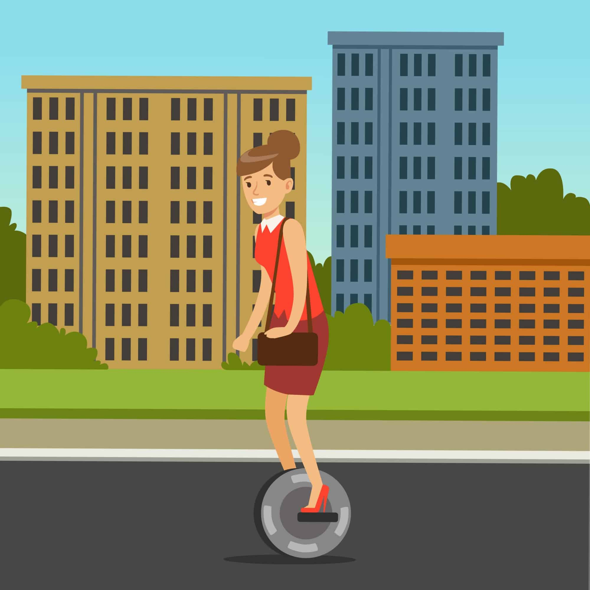 Businesswoman riding on one wheel electric scooter on city background, intelligent and fashionable personal electric vehicle vector illustration